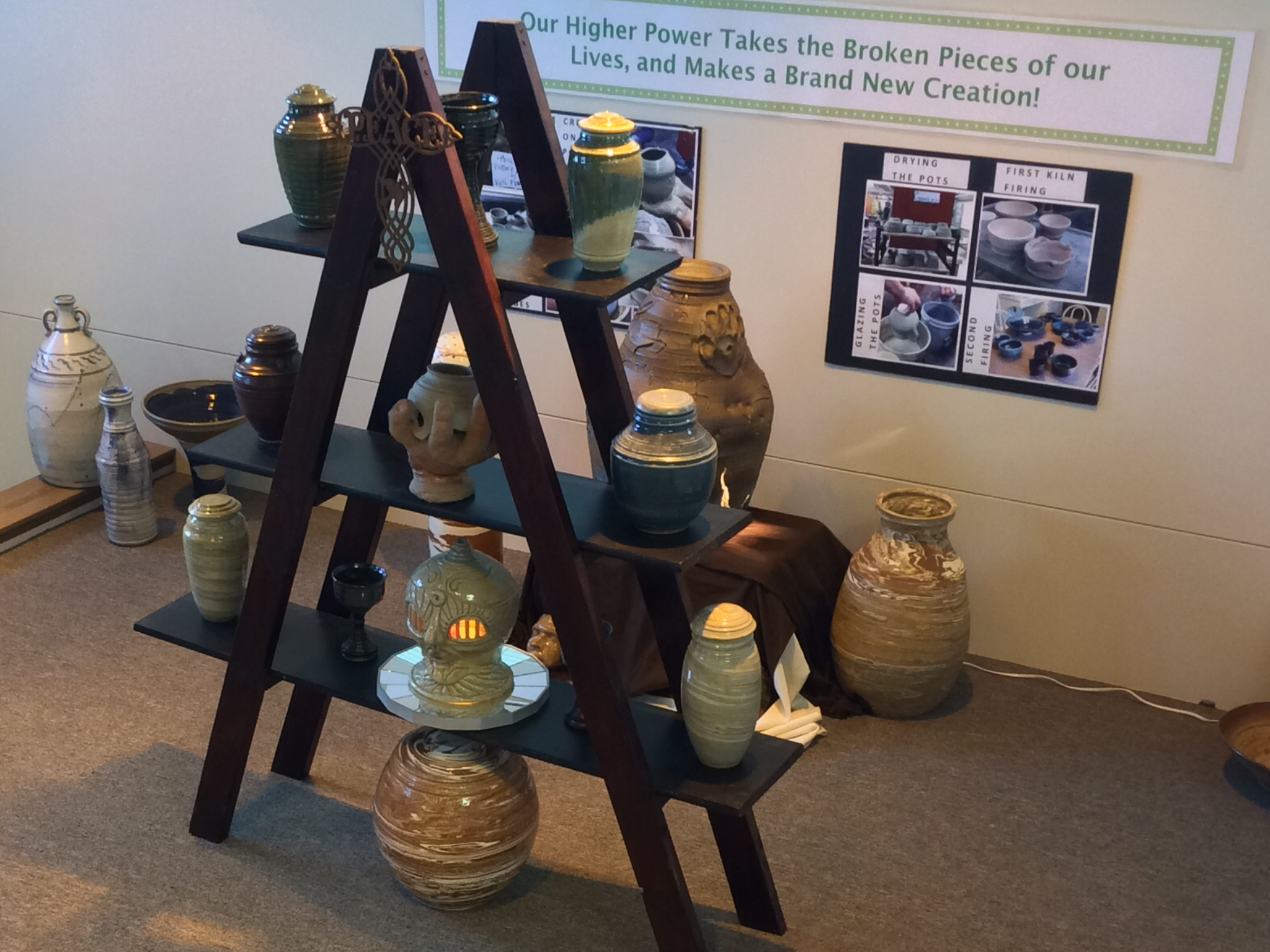 Pottery Display at Recovery Plus Treatment Facility, St. Cloud, MN